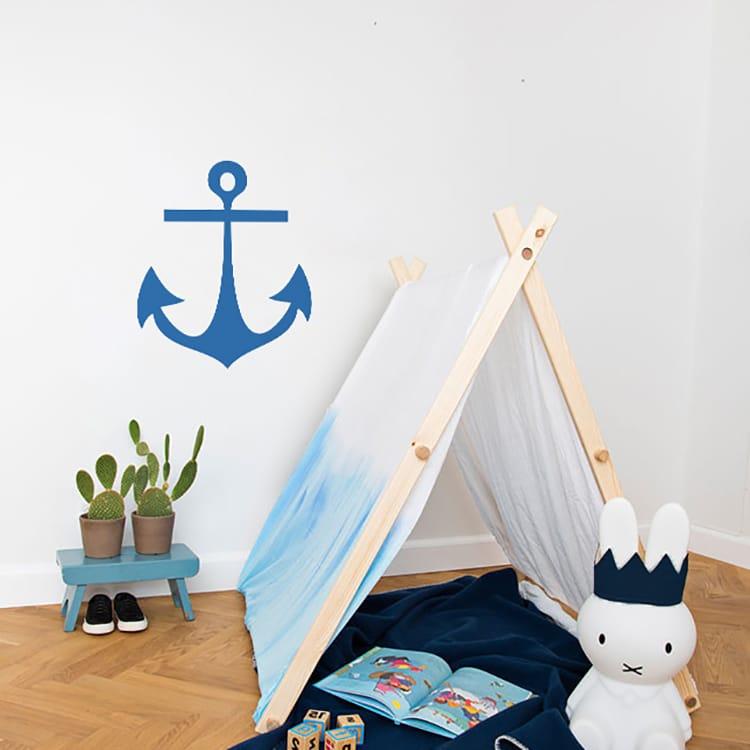 sticker ancre marine bleu