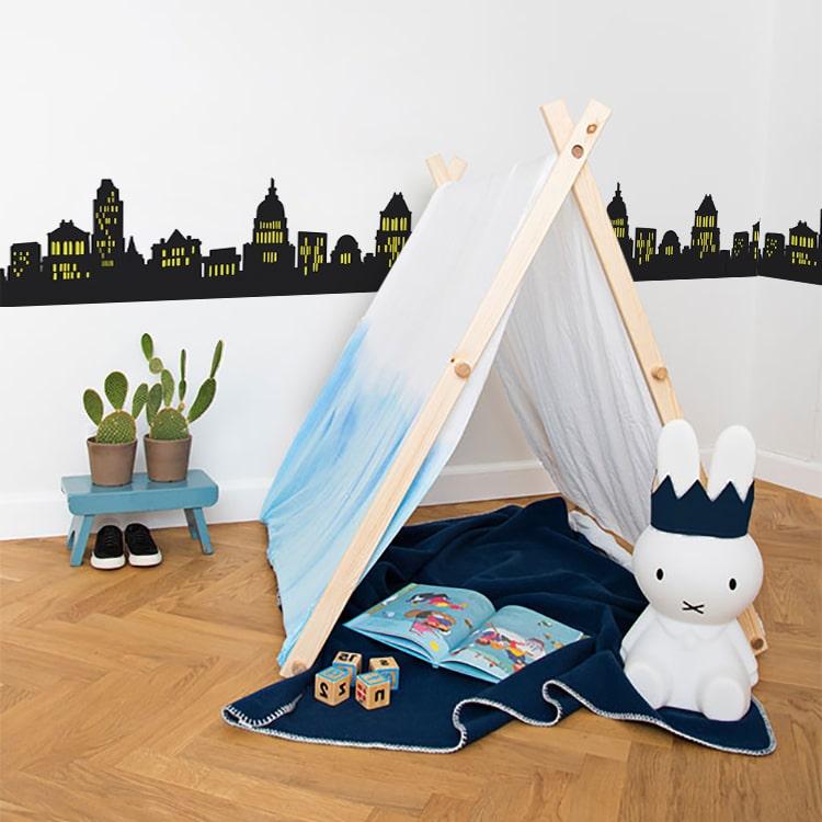 sticker mural série de grattes-ciel New York pour chambre de bébé