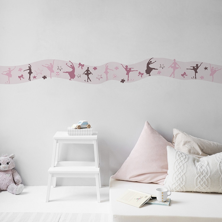 sticker mural frise rose danseuses