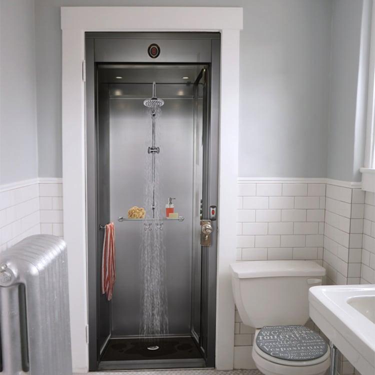 sticker imitation douche pour porte de salle de bain