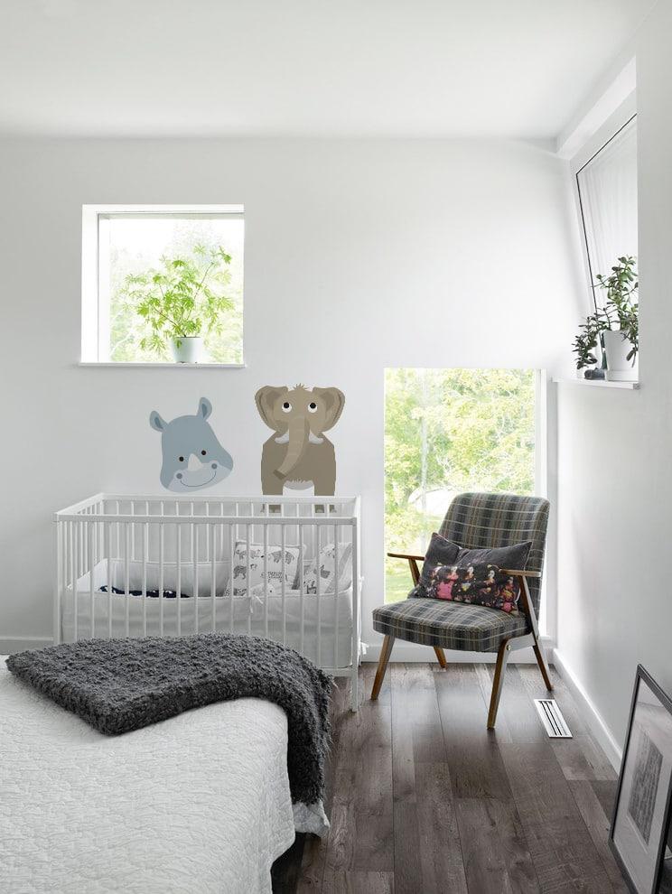 stickers muraux savane pour bebe avec tête d'elephant et de rhinocéros