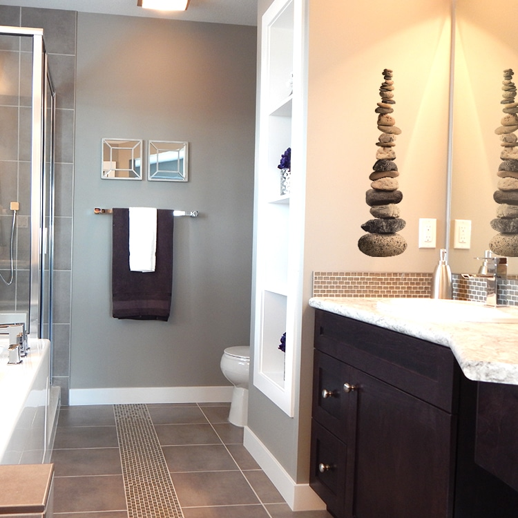 sticker mural galets superposés pour salle de bain