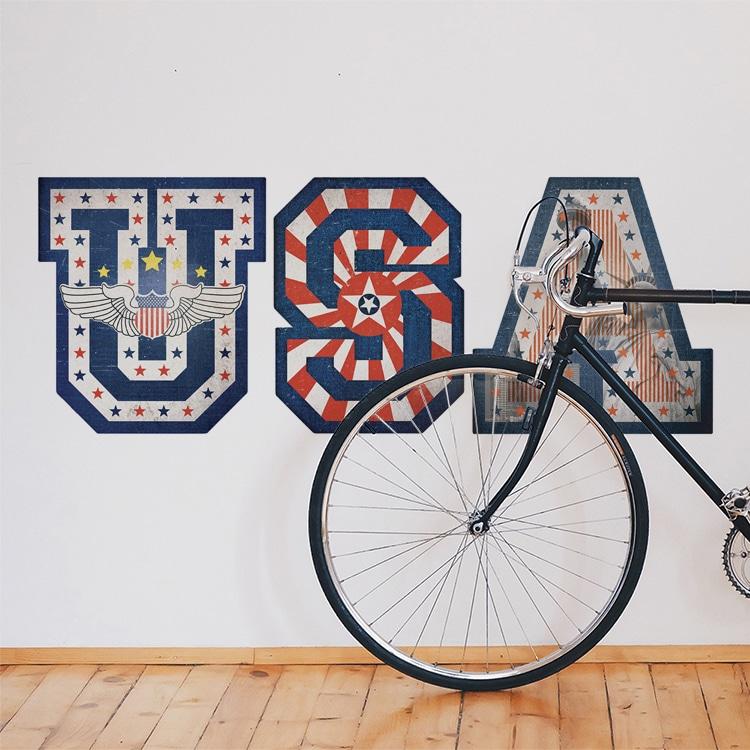 Sticker écritures USA avec symboles de la ville