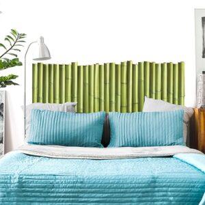 Sticker Palissade de Bambous pour tête de lit au-dessus d'un lit bleu