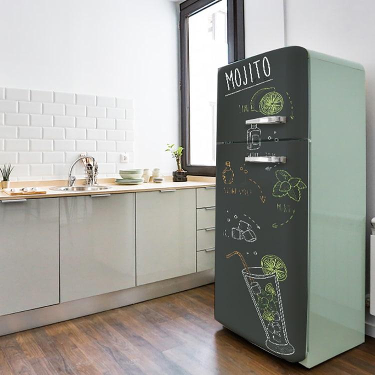 Autocollants pour porte de frigo design rétro vintage Recette du Mojito pour bar ou cuisine moderne