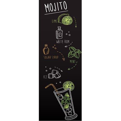 Stickers adhésifs décoratif Recette du Mojito pour frigo style dessin à la craie en vert, orange et blanc