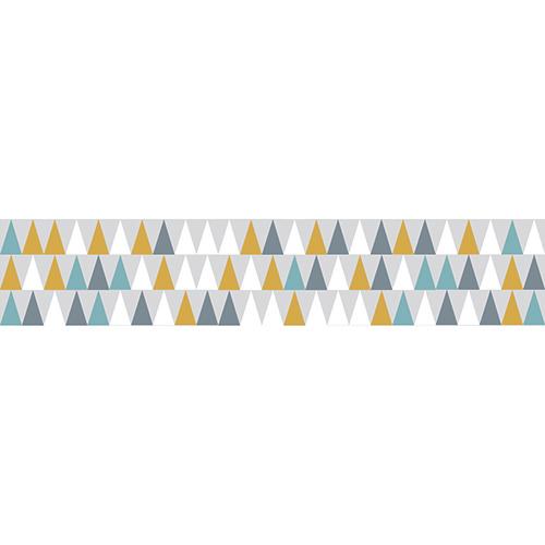 Autocollant triangles blanc, gris, bleu et jaune modernes pour contremarches décoration d'escalier moderne mur briques