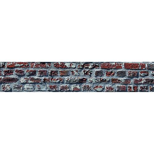 Sticker pour déco brique rouge pour contremarches d'escalier en bois mur blanc