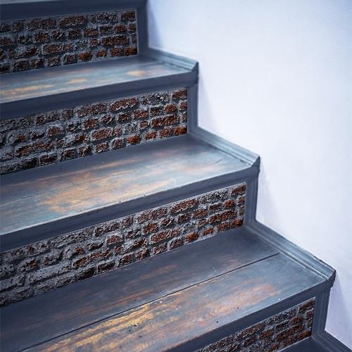 Sticker adhésif pour déco brique rouge pour contremarches d'escalier