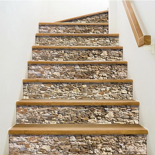 Sticker adhésif déco vieilles pierres pour contremarches d'escalier