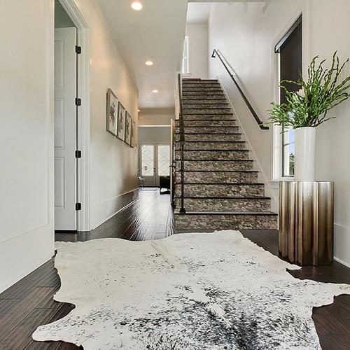 Autocollant escalier blanc moderne déco vieilles pierres pour contremarches