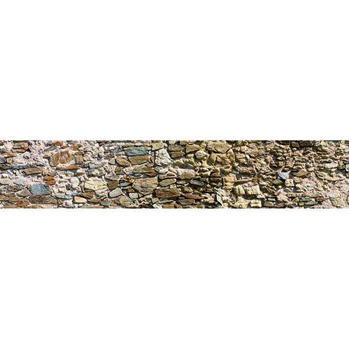 Sticker vieilles pierres pour décoration contremarches d'escalier en bois mur blanc