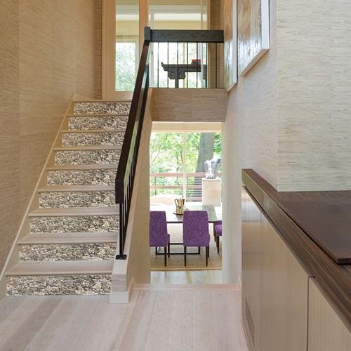 Autocollant vieilles pierres pour décoration contremarches d'escalier en bois moderne