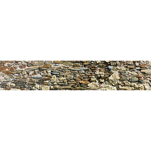 Adhésif vieilles pierres pour déco contremarches d'escalier en bois clair mur briques