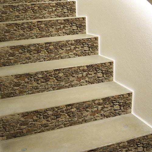 Autocollant vieilles pierres pour décoration de contremarches d'escalier en béton blanc