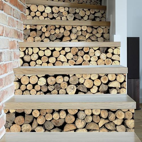 Sticker autocollant rondins de bois pour la déco de vos contremarches en bois