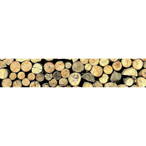 Adhésif rondins de bois décoration contremarches d'escalier en bois clair mur briques
