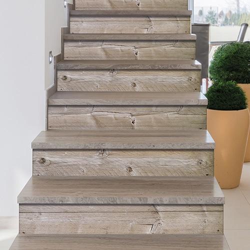 Sticker adhésif planche de bois pour déco contremarches d'escalier