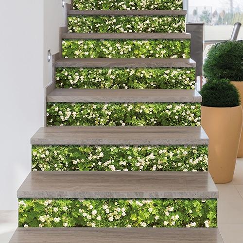 Sticker autocollant déco mur végétal de fleurs pour contremarches