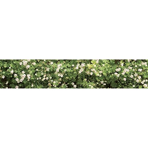 Adhésif déco contremarches mur végétal de fleurs pour escalier en bois clair mur briques