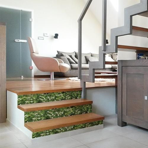 Adhésif décoration mur végétal de fleurs pour contremarches d'escalier en bois moderne