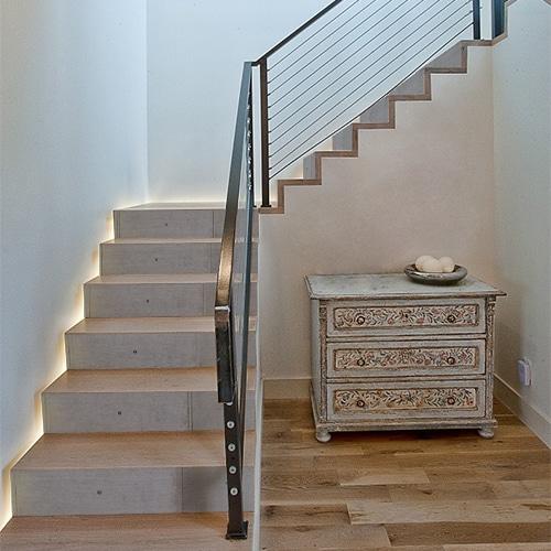 Autocollant béton ciment pour déco contremarches en bois d'escalier en bois moderne