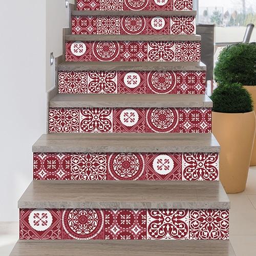 Sticker adhésif carreaux de ciment rouge pour déco contremarches