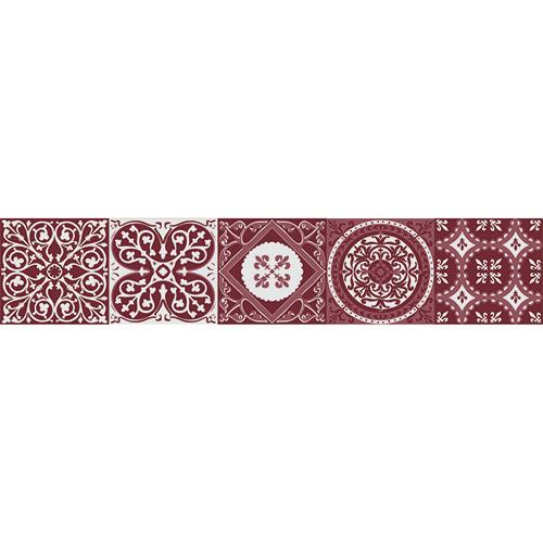 Sticker contremarches carreaux de ciment rouge pour décoration d'escalier en bois mur blanc