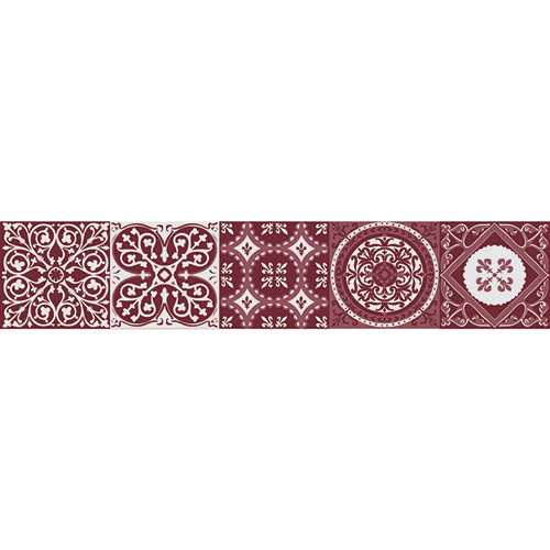 Adhésif carreaux de ciment rouge pour décoration contremarches escalier en bois gris