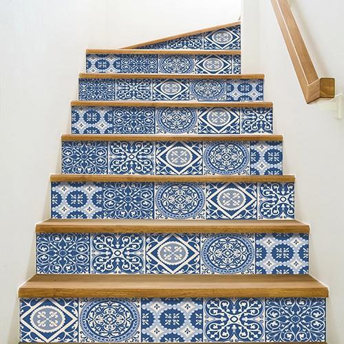 Sticker autocollant carreaux de ciment turquoise pour déco contremarches d'escalier