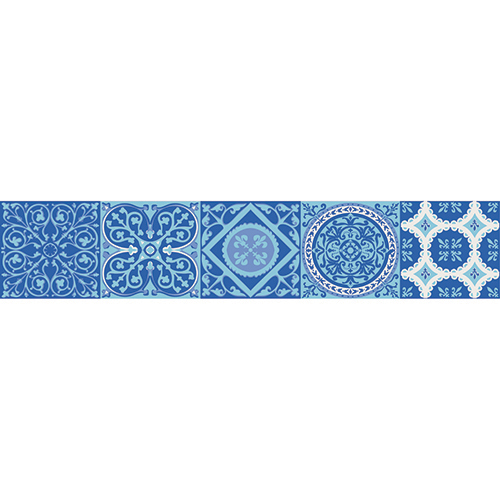 Adhésif carreaux de ciment bleu contremarches pour d'escalier en bois en bois mur blanc