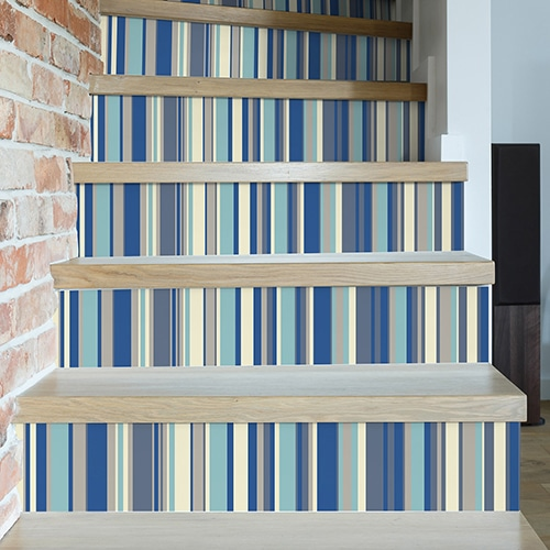 Sticker autocollant rayures bleu pour déco contremarches d'escalier