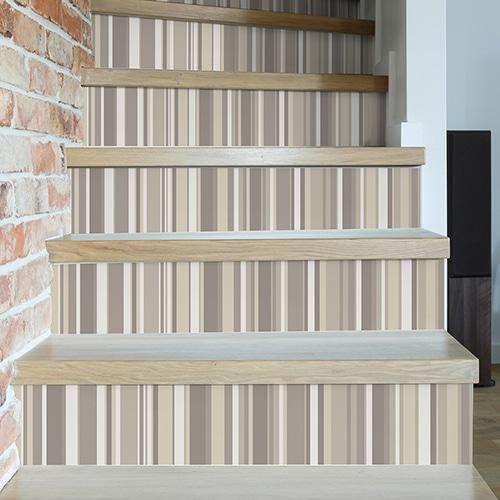 Sticker autocollant rayures beige pour déco contremarches d'escalier