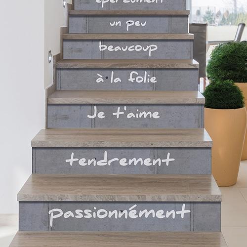 Stickers adhésifs pour contremarches avec steps de l'amour sur escalier en bois verni