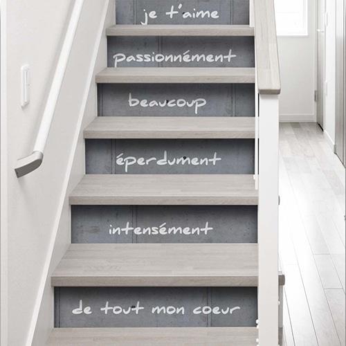 Stickers déco autocollants Je t'aime éperdument pour contremarches escalier