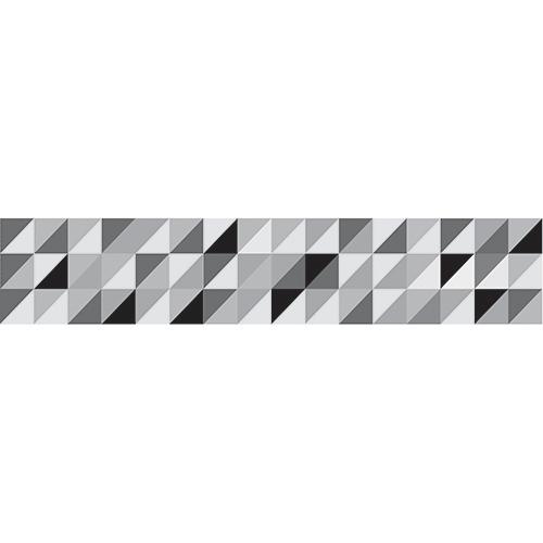 Adhésifs contremarches motifs triangles emboités noir gris et blanc dans maison avec mur en briques