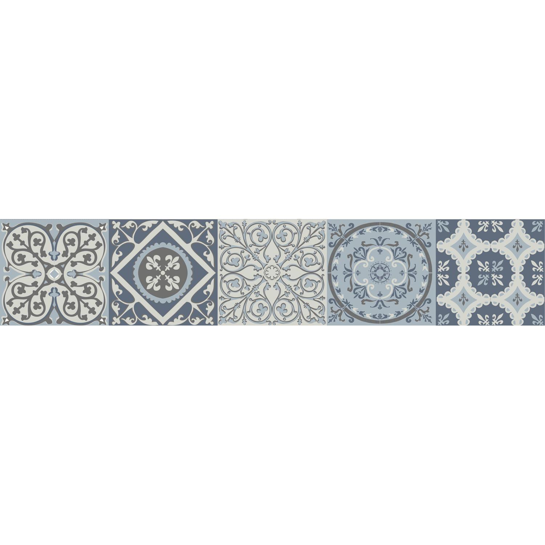 Stickers contremarches motifs coimbra italiens bleu sur escalier foncé rustique