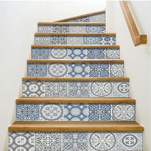 Sticker autocollant Coimbra bleu turquoise pour déco contremarches d'escalier