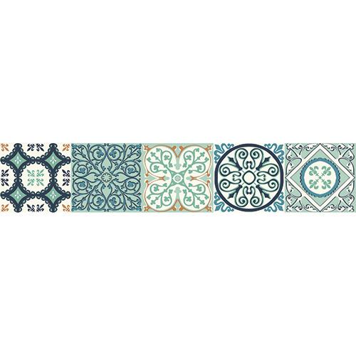 Escaliers en bois décoré avec un motif turquoise et bleu style Italien