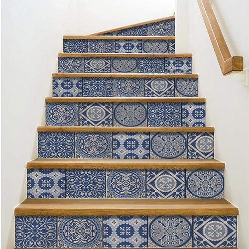 Sticker adhésif Patras bleu foncé pour déco contremarches d'escalier