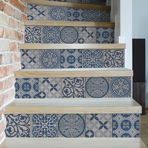 Sticker autocollant Benistes bleu pour déco contremarches d'escalier