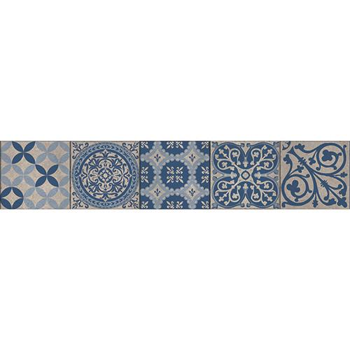 Sticker décoratif bleu style Renaissance italienne pour contremarche