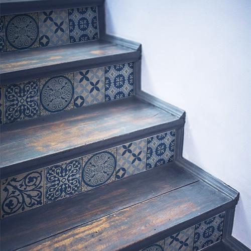 Sticker adhésif Benistes bleu pour déco contremarches d'escalier