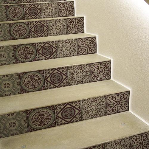 Mosaïque style Renaissance carreaux de ciment contremarches adhésives pour escaliers