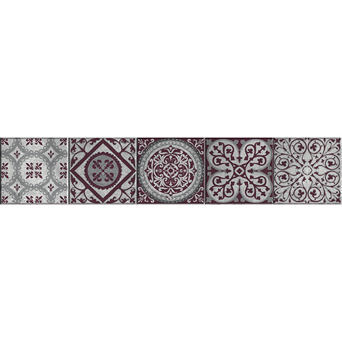 Sticker adhésif Motifs Renaissance Mauve sur blanc pour décorer vos escaliers