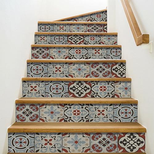 Sticker autocollant Ozzano pour déco contremarches d'escalier carreaux de ciment