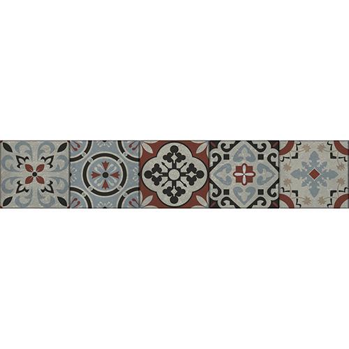 Mosaïque de motifs rouge noir et bleu sur fond blanc