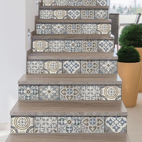 Sticker autocollant Borgatella beige pour déco contremarches d'escalier