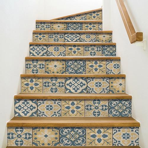 Sticker adhésif style Renaissance jaune pour vos contremarches d'escaliers
