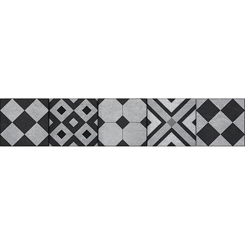 Sticker original motif noire et jaune géométrique pour coller sur vos contremarches